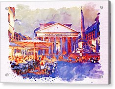 The Pantheon Rome Watercolor Streetscape Acrylic Print by Marian Voicu