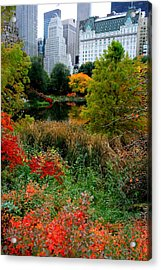 The Park And The Plaza Acrylic Print by Christopher Kirby