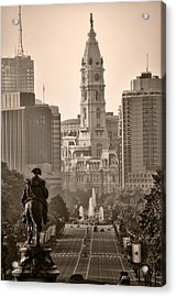The Parkway In Sepia Acrylic Print
