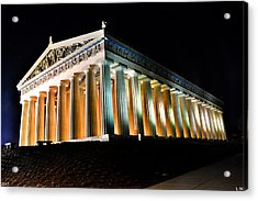 The Parthenon In Nashville Tennessee At Night 2 Acrylic Print by Lisa Wooten