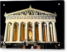 The Parthenon In Nashville Tennessee At Night  3 Acrylic Print by Lisa Wooten