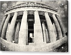 The Parthenon In Nashville Tennessee Black And White 3 Acrylic Print by Lisa Wooten