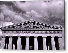 The Parthenon In Nashville Tennessee Black And White Acrylic Print by Lisa Wooten