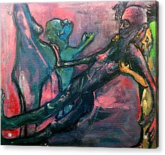 Acrylic Print featuring the painting The Passage From This Life Into The Next     But Not Without Protest This Time    by Kenneth Agnello