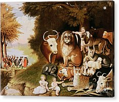 The Peaceable Kingdom Acrylic Print by Edward Hicks