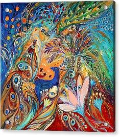 The Peacocks And Blue Deer Acrylic Print by Elena Kotliarker