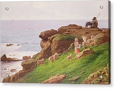 The Pet Lamb Acrylic Print by J Hardwicke Lewis