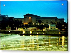 The Philadelphia Art Museum And Waterworks At Night Acrylic Print by Bill Cannon
