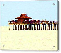 The Pier - Beach Pier Art Acrylic Print by Sharon Cummings