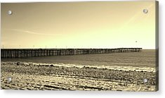 The Pier Acrylic Print by Mary Ellen Frazee