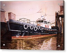 The Pilot Boat Acrylic Print by Marguerite Chadwick-Juner