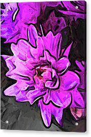 The Pink And Lavender Flowers On The Grey Surface Acrylic Print