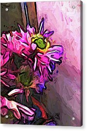 The Pink And Purple Flower By The Pale Pink Wall Acrylic Print