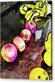The Pink Apples In A Curve With The Yellow Lemons Acrylic Print