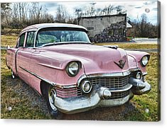 The Pink Cadillac II Acrylic Print by Kathy Jennings