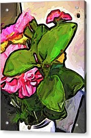 The Pink Flowers Behind The Green Leaves Acrylic Print
