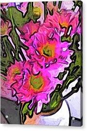 The Pink Flowers In The White Vase Acrylic Print