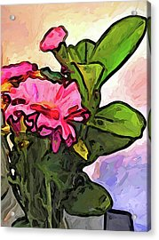 The Pink Flowers On The Left With The Green Leaves Acrylic Print