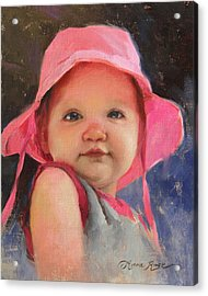 The Pink Hat - Cecelia At 11 Months Acrylic Print by Anna Rose Bain