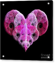 Acrylic Print featuring the digital art The Pink Heart by Andee Design