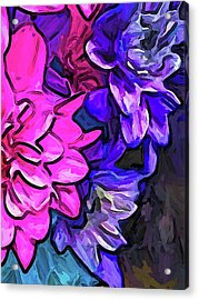 The Pink Petals With The Purple And Blue Flowers Acrylic Print
