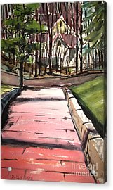 The Pink Road Off S Broadway Matted Glassed Acrylic Print by Charlie Spear