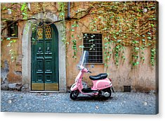 The Pink Vespa Acrylic Print by Al Hurley