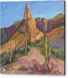 Acrylic Print featuring the painting The Pinnacle At Goldfield Mountains by Diane McClary