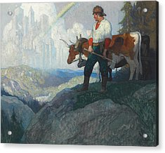 The Pioneer And The Vision Acrylic Print by Newell Convers Wyeth