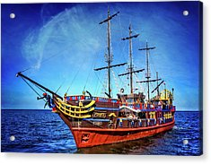 Acrylic Print featuring the photograph The Pirate Ship Ustka In Sopot  by Carol Japp
