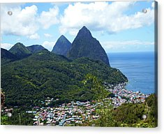 Acrylic Print featuring the photograph The Pitons, St. Lucia by Kurt Van Wagner