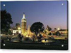 The Plaza In Kansas City, Mo, At Night Acrylic Print by Michael S. Lewis
