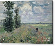 The Poppy Field Acrylic Print by Claude Monet