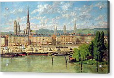 The Port At Rouen Acrylic Print by Torello Ancillotti