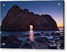 The Portal - Sunset On Arch Rock In Pfeiffer Beach Big Sur In California. Acrylic Print