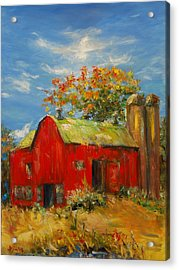 The Porter Barn In Red  Acrylic Print by Ann Bailey
