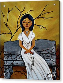 The Power Of The Rosary Religious Art By Saribelle Acrylic Print