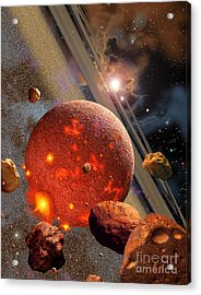 The Primordial Earth Being Formed Acrylic Print by Ron Miller