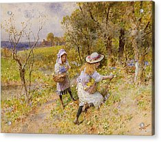 The Primrose Gatherers Acrylic Print by William Stephen Coleman