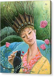 The Princess And The Crow Acrylic Print by Terry Webb Harshman