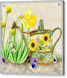 The Promise Of Spring - Watering Can Acrylic Print by Audrey Jeanne Roberts