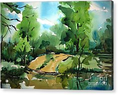 The Public Access Boat Ramp On The Little Mississinewa River Matted Glassed Framed Acrylic Print by Charlie Spear