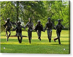 The Puddle Jumpers At Byers Choice Acrylic Print by Trish Tritz