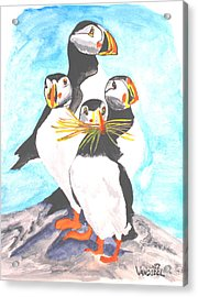 The Puffins Family - Watercolor Acrylic Print