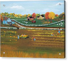 Acrylic Print featuring the painting The Pumpkin Patch by Virginia Coyle