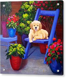 The Puppy In The Garden Acrylic Print