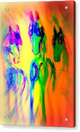 The Rainbow Horses Are Coming Closer And You Don't Know What To Say  Acrylic Print by Hilde Widerberg