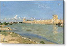 The Ramparts At Aigues Mortes Acrylic Print by Jean Frederic Bazille