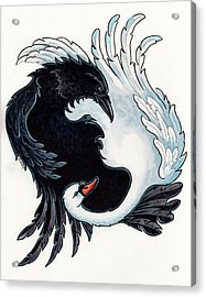 The Raven And The Swan Acrylic Print by Christine Karron