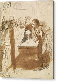 The Raven - Angel Footfalls Acrylic Print by Dante Gabriel Rossetti